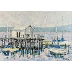 "SIESSER, HELMUT (1926-1995), ""Lake Constance with boathouse and sailing boats"","
