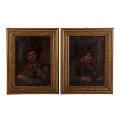 Painter 17./18. Century, perimeter/successor of the Adriaen BROWER & Adriaen van OSTADE, 2 Portraits,