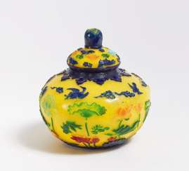 Bulbous lid jar with Lotus and birds