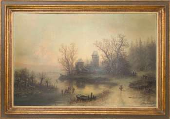 ALBERT BREDOW, MYSTICAL LANDSCAPE WITH CASTLE, Oil/canvas, 20. Century