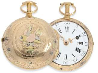 Pocket watch: early 4-colors-Gold-Spindeluhr with Repetition a toc, France, about 1760