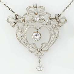 Pendant on a chain with diamonds