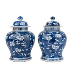 Pair of blue-and-white cover vases. CHINA, late Qing-dynasty (1890-1911).