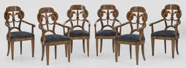 Set of six armchairs in the Empire style