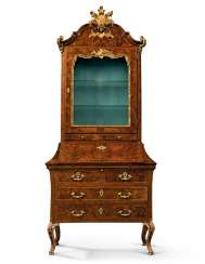 A NORTH ITALIAN WALNUT, INDIAN ROSEWOOD AND PARCEL-GILT BUREAU-CABINET