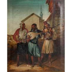 "PAINTER 19th century, ""Three oriental musicians in front of the city"","