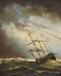 Sailing ship on a stormy sea