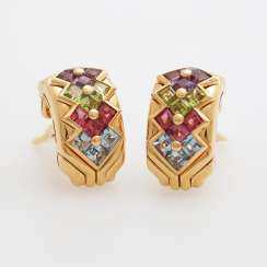 BULGARI clip earrings m. Color gemstones