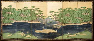 CONTROL SCREEN WITH A COASTAL LANDSCAPE, PINE TREES AND BIRDS