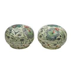 Pair of large, round lids, cans made of stoneware. CHINA, 20. Century