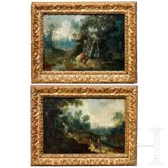 A pair of landscape paintings in original baroque frames, Netherlands, 1st half 17th century