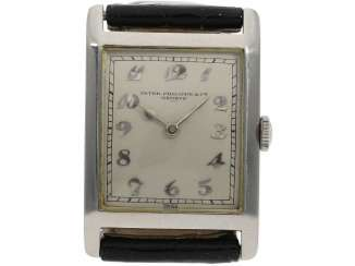 Watch: very fine, early, early, early Art Deco men's watch in platinum, Patek Philippe No. 805536. 1925/26