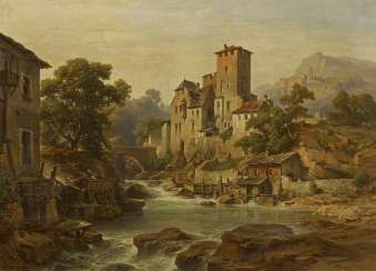 Tyrolean Mountain Valley with Water Mill and Castle