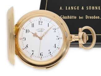 Pocket watch: Lange & Söhne rarity, extremely heavy Louis XV gold savonnette with Seconde Morte, and Repetition, No. 28592 of 1890, only 5 of these watches were built with the master excerpt from the book