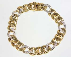 Chain bracelet with diamond - yellow-gold/WG 585