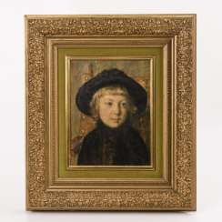 Gold stucco molding frame with a printed portrait