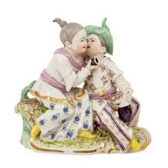 NYMPHENBURG, porcelain figure group of a drinking Chinese couple