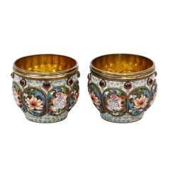 FEODOR RÜCKERT, two Cloisonné bowls, Moscow, early 20's. Century