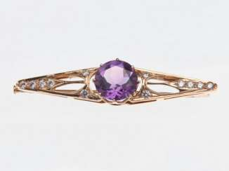 Brooch with amethyst and diamonds