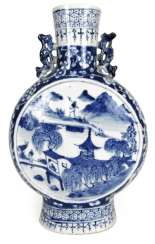Under glaze blue decorated Pilgrim flask made of porcelain