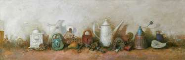 Still life with white teapot
