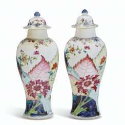 A PAIR OF 'TOBACCO LEAF' BALUSTER VASES AND COVERS