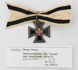 Cross of MERIT FOR WOMEN AND young women of 1870/71, enamel, Germany, 19. Century