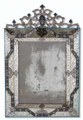 AN ITALIAN BLUE AND CLEAR GLASS MIRROR
