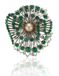 EMERALD, DIAMOND AND PEARL BROOCH MOUNTED BY BOUCHERON