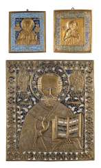 LARGE AND SMALL ICON WITH ST. NICHOLAS OF MYRA, AS WELL AS A SMALL ICON WITH THE SAINT NIPHONT