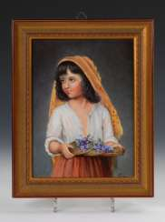 Porcelain painting: girl with Blumensch