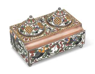 A CLOISONNÉ ENAMEL COPPER AND SILVER INKSTAND