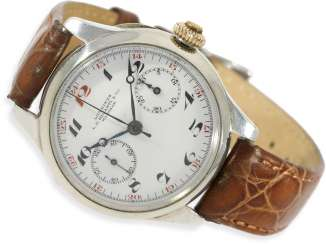 Watch: Longines rare, very early, a large Chronograph with enamel dial and a special signature Riganti Bangkok, Longines in 1926, with the master excerpt from the book