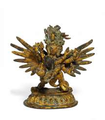 Winged Heruka with his partner in yab-yum