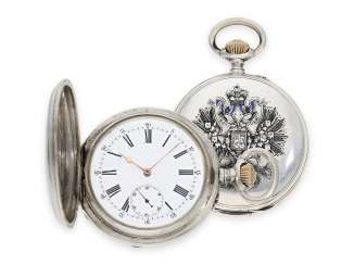 Pocket watch: a silver cased watch with enameled Tsar's eagle, Präsentuhr of the Russian Tsar, Pavel Buhre No. 15828, watchmaker to the court of the Tsar, CA. 1900