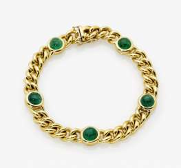 Curb chain bracelet with emeralds, Italy