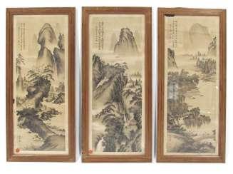 Drei Drucke mit Landschaftsansichten