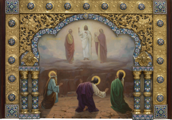 The Transfiguration on Mount Tabor in a Silver-Gilt and Cloisonné Enamel Oklad