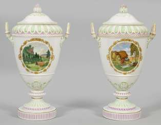 Pair of large decoration vases with landscape and floral decoration