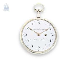 Pocket watch: extremely rare German pocket watch, Johann Spitznagel in Mährisch-Neustadt in Olomouc (today Uničov in the case of Olomouc), an extremely rare caliber, CA. 1790