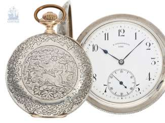 Pocket watch: unusual and unique Austrian Pocket chronometer, a masterpiece in richly decorated silver/gold case, Carl special forest, Linz a/D., plant No. 1, 1893