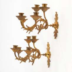 Pair of 5-tube Bronze wall sconce