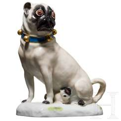 Small sitting pug with puppies, Meissen, 19./20. century