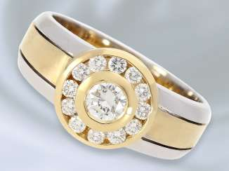 Ring: attractive and interesting-made Bicolor gold wrought ring set with the finest brilliant-cut diamonds, 0.61 ct