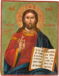 LARGE-FORMAT-SIGNED AND DATED ICON WITH CHRIST PANTOKRATOR