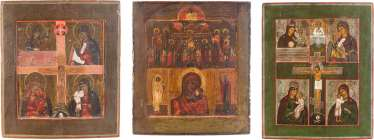 THREE MULTIPLE FIELDS ICONS WITH MERCY IMAGES OF THE MOTHER OF GOD AND THE CRUCIFIXION OF CHRIST Russia