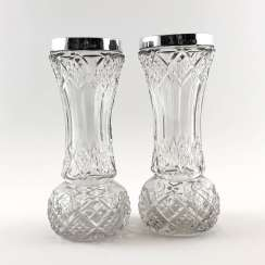Pair of crystal vases with silver