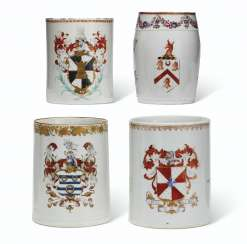 FOUR ENGLISH MARKET ARMORIAL MUGS