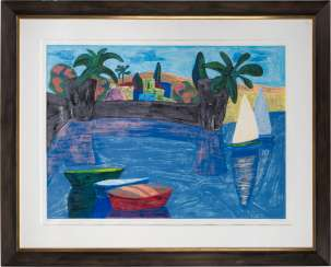 AMOS YASKIL 1935 Haifa - lives and works in Tiberias THE BAY OF GALILEE Color serigraph on firm paper