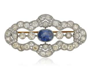 SAPPHIRE AND DIAMOND BROOCH WITH GIA REPORT